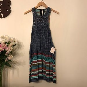 NWT Free People Blue Crochet Rare Hearts Dress